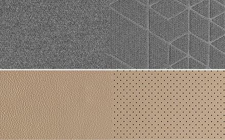 Sitzpolsterung in Stoff (grau) oder Leder (beige)