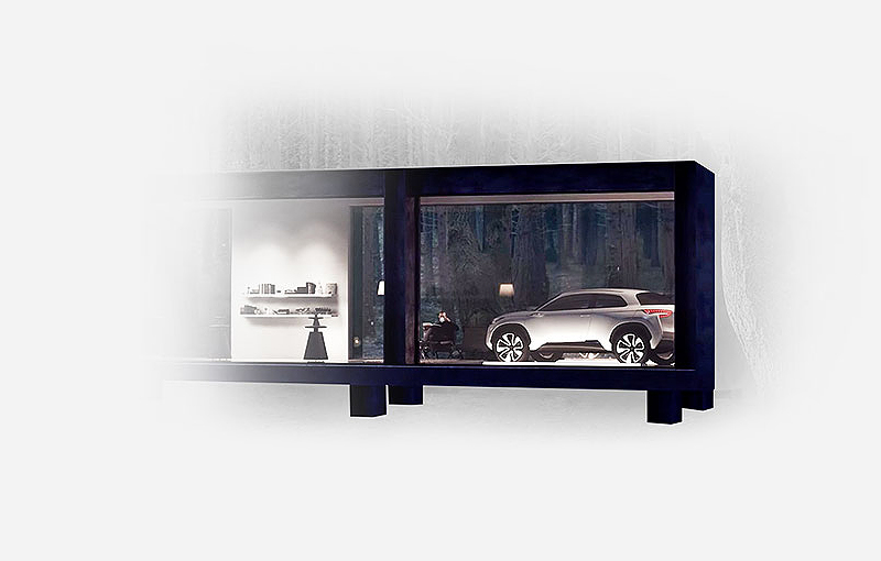 A Hyundai automobile is exhibited in a black framed box