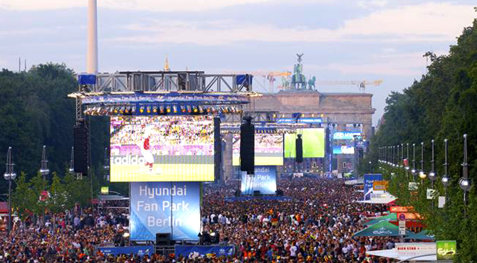 Multi screen display for large number of fans at Hyundai Fan Park Berlin