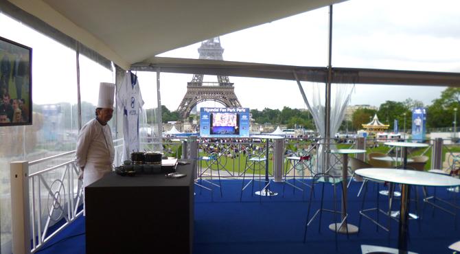 Hospitality area at Hyundai Fan Park Paris